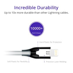 [Apple MFi Certified] Tronsmart 19AWG Double Braided Nylon Lightning Cable 0.3M(1ft)